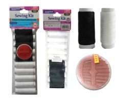 144 Units of 20pc Thread & Needles Set Black & White Asst - Sewing Supplies