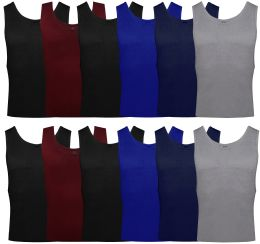 24 Units of Yacht & Smith Mens Ribbed 100% Cotton Tank Top, Assorted Colors, Size Medium - Mens T-Shirts