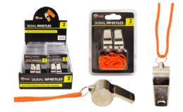 72 Units of Steel Whistles 2 Pack - Novelty Toys
