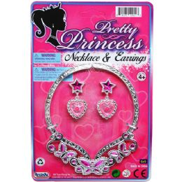 """96 Units of 4.75"""" PRINCESS NECKLACE & 2"""" EARRINGS TIED ON CARD - Girls Toys"""