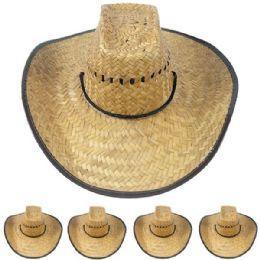 12 Units of Lightweight Jute Wide Brim Straw Man Cowboy Hat - Sun Hats