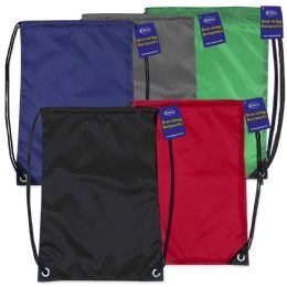 60 Units of Large-Size Lightweight Drawstring Backpacks - Assorted Colors - Draw String & Sling Packs