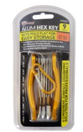 18 Units of Folding Hex Key Set With Carabiner 9 Piece - Hex Keys