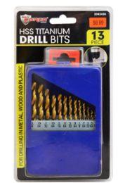 12 Units of HSS Titanium Drill Bit Set 13 Piece - Screwdrivers and Sets