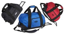 """6 Units of 21"""" Rolling Carry-On Duffle Bags w/ Telescopic Handle - Assorted Colors - Duffel Bags"""
