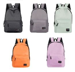 """24 Units of 18"""" Padded Backpacks w/ Adjustable Straps & USB Port Charger - Assorted Colors - Draw String & Sling Packs"""