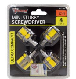 48 Units of Mini Stubby Screwdrivers 4 Piece - Screwdrivers and Sets