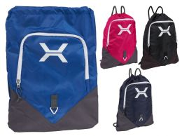 """24 Units of 19"""" Deluxe Reinforced Drawstring Backpacks w/ Front Pouch - Draw String & Sling Packs"""