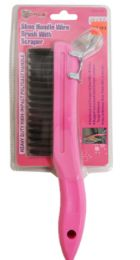 36 Units of Pink Shoe Handle Wire Brush - Footwear & Shoes