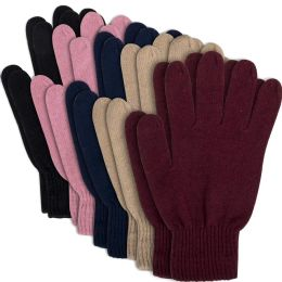 100 Units of Women's Knitted Gloves - 5 Assorted Colors - Knitted Stretch Gloves
