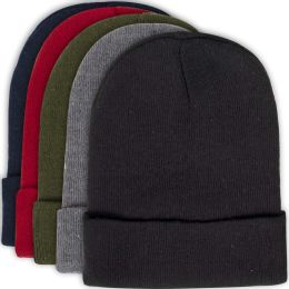 100 Units of Adult Knit Hat Beanie - 5 Assorted Colors - Winter Beanie Hats