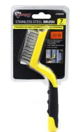 48 Units of Stainless Steel Brush With Rubber Grip 7 Inch - Tool Sets