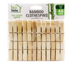 48 Units of Bamboo Clothespin 48 Count - Clothes Pins