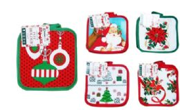 72 Units of Christmas Pot Holders 2 Pack - Christmas Novelties