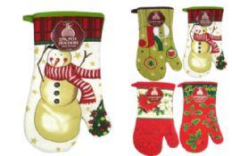 48 Units of Christmas Printed Oven Mitt - Christmas Novelties
