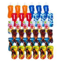 96 Units of Collapsible Foldable Water Bottle With Carabiner in Assorted Colors and Prints - Drinking Water Bottle