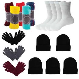 12 Units of Care Package Supplies - Bulk Case of 12 Glove Pairs, 12 Socks, 12 Winter Throw Blankets, 12 Beanies - Winter Care Sets
