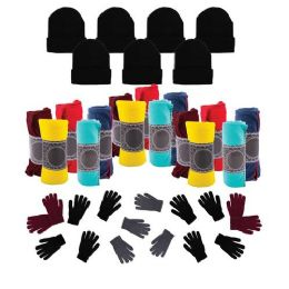 12 Units of Case of 12 Gloves, 12 Winter Throw Blankets, 12 Beanies - Wholesale Care Packages - Winter Care Sets