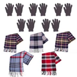 96 Units of 96 Pack - Wholesale Winter Gloves and Bulk Scarves - Homeless Care Package Supplies - Winter Care Sets