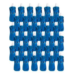 96 Units of Collapsible Foldable Water Bottle With Carabiner in Blue Monster - Drinking Water Bottle