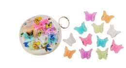 96 Units of Mini Butterfly Hair Clip 12 Count - Hair Scrunchies