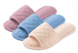 36 Units of Women's Plush Slide Slippers w/ Textured Pattern - Assorted Colors - Women's Slippers