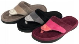36 Units of Women's Two Tone Striped Gizeh Slippers w/ Soft Footbed - Women's Slippers