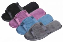 36 Units of Lady Plush Open-Toe Slippers w/ Satin Trim - Women's Slippers