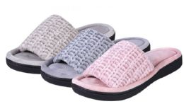 36 Units of Women's Wedge Chenille Slide Slippers - Assorted Colors - Women's Slippers