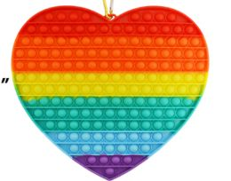 4 Units of Bubble Pop Toy Jumbo Rainbow Heart - Fidget Spinners