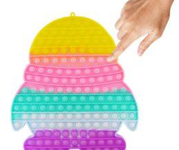 4 Units of Bubble Pop Toy Jumbo Rainbow Penguin - Fidget Spinners