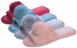 36 Units of Women's Plush Velvet Slide Slippers w/ Pom Pom Adornment - Women's Slippers