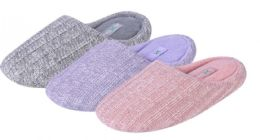 36 Units of Women's Heathered Knit Mule Slippers - Assorted Colors - Women's Slippers