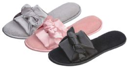 36 Units of Women's Plush Slide Slippers w/ Satin Knotted Bow - Women's Slippers