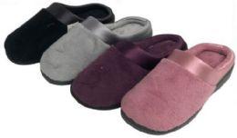 30 Units of Women's Plush Clog Slippers w/ Satin Trim - Women's Slippers