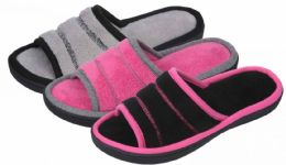 36 Units of Ladies Plush Slippers w/ Contrast Trim - Women's Slippers