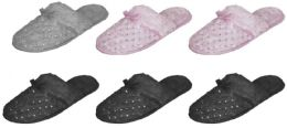 36 Units of Women's Faux Fur Mule Slippers w/ Satin Bow & Embroidered Sequins - Women's Slippers