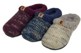 30 Units of Women's Two Tone Knit Clog Slippers w/ Fleece Trim & Patch Embellishment - Women's Slippers