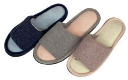 36 Units of Women's Knit Slide Slippers w/ Soft Two Tone Footbed - Women's Slippers