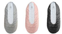 36 Units of Women's Metallic Striped Slippers Socks w/ Sherpa Lining - Women's Slippers