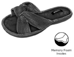 12 Units of Women's Pleated Knot Siena Slippers w/ Soft Footbed - Black - Women's Slippers
