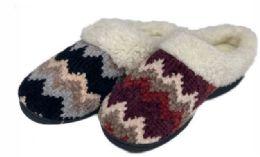 30 Units of Women's Knit Clog Slippers w/ Two Tone Chevron Patterns & Sherpa Trim - Women's Slippers