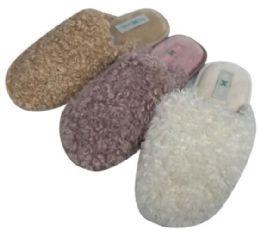 36 Units of Women's Faux Fur Mule Slippers w/ Soft Footbed - Women's Slippers