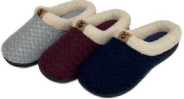 30 Units of Women's Knit Clog Slippers w/ Sherpa Trim & Patch Embellishment - Women's Slippers