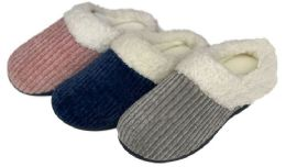 30 Units of Women's Ribbed Knit Clog Slippers w/ Sherpa Trim - Women's Slippers