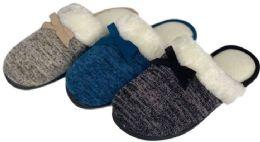 36 Units of Women's Jersey Knit Mule Slippers w/ Faux Fur Trim & Satin Bow - Women's Slippers