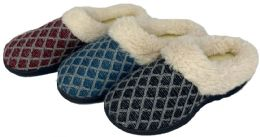 30 Units of Women's Quilted Knit Clog Slippers w/ Faux Fur Trim - Women's Slippers