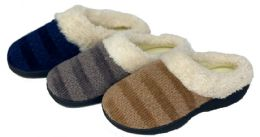 30 Units of Women's Two Tone Knit Clog Slippers w/ Faux Fur Trim - Women's Slippers