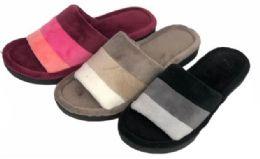 36 Units of Women's Slide Slippers w/ Two Tone Stripes - Women's Slippers