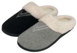 36 Units of Women's Fleece Knit Slippers w/ Faux Fur Lining - Women's Slippers